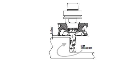 Дистанция между роторным пылеудалителем и заготовкой должна составлять от 5 до 10 мм